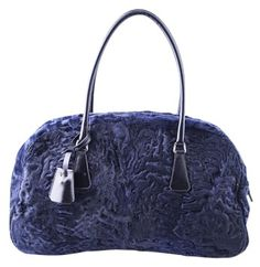 f4581005d1f2 GB1030237K Prada Royal Blue Rabbit Fur B11300 Tote Prada made from leather  and rabbit fur in. Tradesy