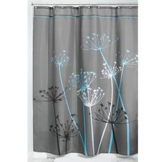 InterDesign Thistle Fabric Shower Curtain, Long, 72 inch x 84 inch, Gray/Blue Floral Shower Curtains, Grey Curtains, Colorful Curtains, College Dorm Bathroom, Shower Liner, Shower Curtain Hooks, Blue Fabric, Floral Fabric, Woven Fabric