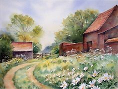 Wild flowers at Castle Rising von Ann Mortimer Watercolor Barns, Watercolor Architecture, Watercolor Landscape, Watercolour Painting, Landscape Art, Watercolor Flowers, Landscape Paintings, Watercolours, Art Society