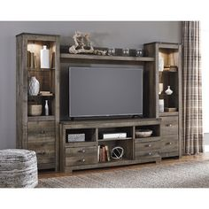 Signature Design by Ashley Trinell Rustic Large TV Stand & 2 Tall Piers w/ Bridge