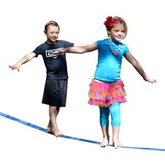 """Beginner Slackline by """"Goodtimes"""" - 48' Long and 2"""" Wide Extra Soft Nylon Webbing W/ Durable Safety Ratchet + Easy Slacklines Set Up Guide. The Best Slacklining Gift Kit. Great for Kids Adults Teens"""