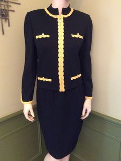 St. John Collection EUC Black/Yellow Santana Knit Skirt Suit - Size 8 #StJohnCollection #SkirtSuit