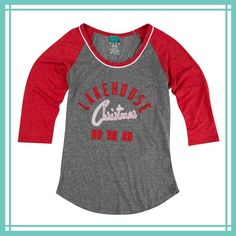 Lakehouse Christmas Raglan Tee - If your family tradition is to spend Christmas at the Lakehouse, then this tee is for you.