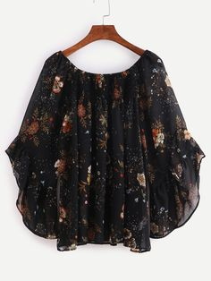 SheIn offers Multicolor Print Bell Sleeve Chiffon Blouse & more to fit your fashionable needs. Stylish Dress Designs, Stylish Dresses, Trendy Outfits, Frock Fashion, Fashion Outfits, Casual Clothing Stores, Stylish Tops For Women, Lace Top Dress, Indian Designer Outfits