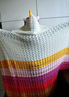 Unicorn hooded blanket 271 pattern by Luz Mendoza Crochet Unicorn Blanket, Crochet Blanket Patterns, Crochet Blankets, Chunky Crochet, Chunky Yarn, Knit Crochet, Easy Sewing Projects, Crochet Projects, Crochet Crafts