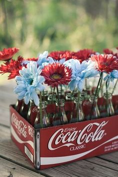 Coca-Cola centerpiece, perfect for backyard cookout or Fourth of July picnic.