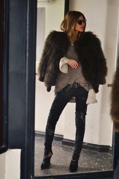 Fur: Viktor & Rolf . Shirt: Esprit . Pants: Dimitri . Shoes: Rachel Zoe . Shades: Ace & Tat http://FashionCognoscente.blogspot.com