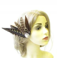 Starcrossed Beauty Large Brown Pheasant Feather Fascinator Hair Clip Bridal Ivory Silver Races 1287 Vintage 1940s 15cm X