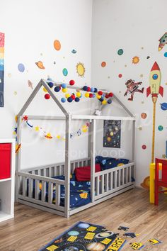 Universe theme boys room ideas, space theme kids room ideas, Frame bed Children bed Play tent House bed Toddler bed Floor bed Baby room nursery crib Home bed Pikler baby bed Teepee montessori toy