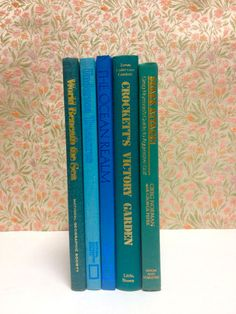 Vintage Books Blue & Turqouise Instant Library Collection, Photo Prop. via Etsy.