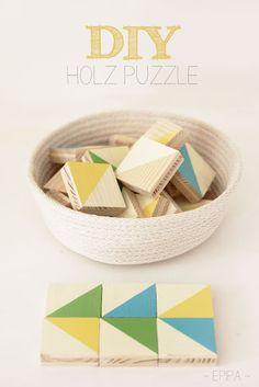 epipa: Holz Puzzle {DIY} Wunderschönes Holzpuzzle oder Memory mit geometrischen Formen wie bei Spielgabe 7 (Froebel Gift 7) - schöne Idee zum Nachmachen!