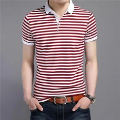 Men's Polo Business Casual Breathable White Striped Short Sleeve T-Shirt Slim Fit Polo Shirts, Short Sleeve Polo Shirts, Casual Shirts For Men, Men Casual, Casual Clothes, Work Clothes, Casual Outfits, Polo Shirt Colors, Striped Polo Shirt