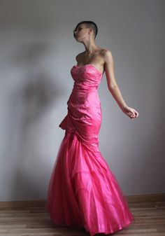 Neon pink wedding prom princess dress by founditgreat