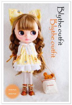 ☆Blythe outfit☆ ブライスのクマ柄シャツとクマ帽子セット・10点set_画像1