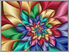 Colorburst Fractal Flower Swirl  Cross Stitch Printable Needlework Pattern - DIY Crossstitch Chart, Instant Download PDF Design by KustomCrossStitch  https://www.etsy.com/listing/257280924/colorburst-fractal-flower-swirl-cross?ref=rss