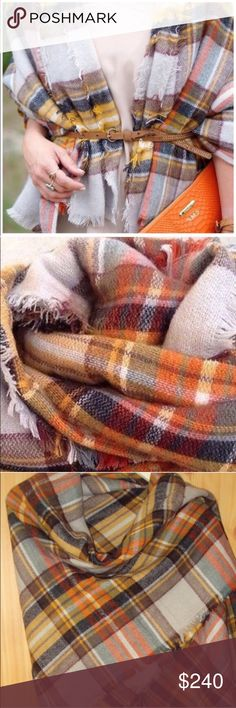 Accessories | oversized Orange plaid blanket scarf So gals, last year, you cleaned me right out of my blanket scarves! In only a few days, my cozy bundles were SOLD! Well the trend you loved is not only back again, but for the LOW price you'd get in-store! Brand new in plastic=NWT. This was sold in retail store in plastic // No brand or tags // measurements are approximate // you won't find a better deal girl! Price is firm! 🎀🎀 Please don't buy listings that have not been updated in over 1…