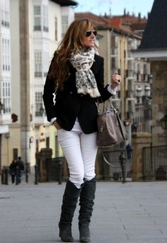 Black blazer + white Jeans + black boots + scarf ... with a pop of color w/the shirt?