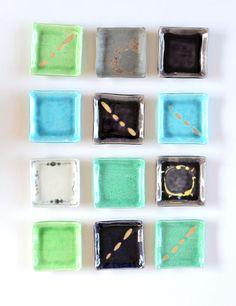 Square plates by Kan-ichi Araki / 釉変わり正角皿 作家「荒木漢一」