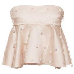 Natasha Zinko Dot Embroidered Peplum Top (18 470 UAH) ❤ liked on Polyvore featuring tops, polka dot top, pink polka dot top, pink strapless top, empire waist tops and strapless peplum top