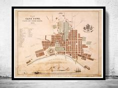 Old Map of Cape Town South Africa Kaapstad 1854The Map has 18 x 23The map is printed on fine paper 270gsmThe frame is not included.This page will be carefully inserted into a solid tube. The sleeve will be shipped in a tube to prevent any bending....