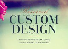 Custom Wedding Invitations - Reserved for Kristen
