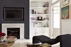 Browse through the best Minimal living room photos and find inspiration for interior design ideas and home decor style at Redonline. Living Room Shelves, My Living Room, Living Room Decor, Wall Shelves, Alcove Storage, Alcove Shelving, Shelving Ideas, Alcove Cupboards, Chimney Decor
