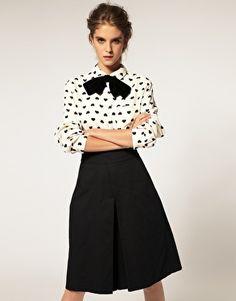 heart print peter pan collar shirt ++ asos