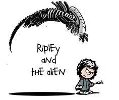 Ripley and The Alien by skonenblades.deviantart.com on @deviantART