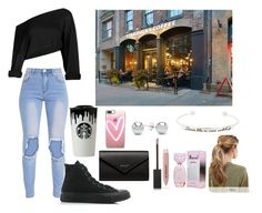 """""""Peyton Lennox- Starbucks date"""" by georgiashepherd18 on Polyvore featuring Converse, Kitsch, Topshop, Burberry, Band of Outsiders, Casetify, Jewelonfire and Balenciaga"""