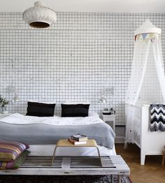 Rustic Living | White Mosaic Wallpaper by Mr Perswall | Jane Clayton