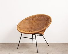 Mid Century Rattan Hoop Chair by OtherTimesVintage on Etsy