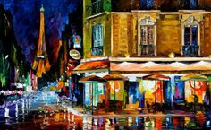"Title: PARIS - RECRUITEMENT CAFE by Leonid Afremov  Size: 40""x24""  Condition: Excellent Brand New  Gallery Estimated Value: $3,500  Medium: 100% hand painted oil painiting on Canvas by Leonid Afremov - Recreation of an older painting  Signed by Leonid%2..."