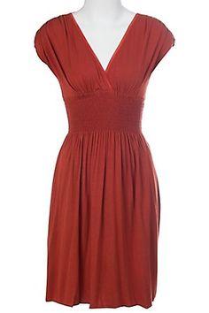 Panhandle Slim Ladies Burnt Orange Short Sleeve V-Neck Dress (@ Cavenders) $37
