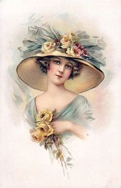 Victorian Ladies by Wirth, L Victorian Hats, Victorian Women, Vintage Cards, Vintage Images, Art Pictures, Art Images, Illustrations Vintage, Etiquette Vintage, Creation Photo