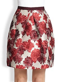 """Weekend Max Mara Floral-Print A-Line Skirt Floral-printed damask, inverted pleating and refined, A-line bell shape exude a certain feminine elegance. Contrast banded waist with back snap closure Inverted front pleated details Concealed back zipper A-line silhouette Lined About 22"""" from natural waist Polyester Dry clean Imported of Italian fabric Model shown is 5'11"""" (180cm) wearing US size 4."""