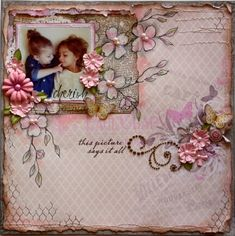 """""""Cherish"""" Layout in pink and neutral, with watercolor effect flower tutorial."""
