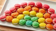 Itty-bitty whoopie pie bites in playful colors are doubly delicious with this sweet filling!