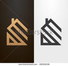 Simple line house logo, icon. - stock vector
