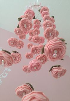 This is SO happening :-) Felt Rose Baby Mobile tutorial