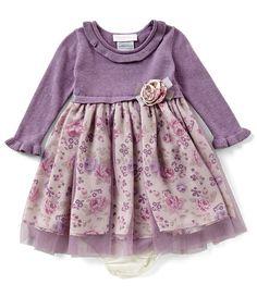 Bonnie Baby Baby Girls Newborn-24 Months Long-Sleeve Floral-Print Dress