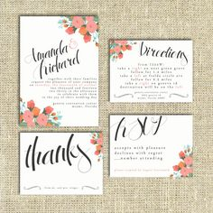Wedding Invitation Suite Set Printable Custom by SplashOfSilver, $9.00