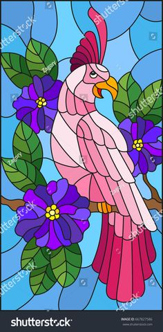 Illustration in the style of stained glass with a beautiful pink parakeet sitting on a branch of a blossoming tree on a background of leaves and sky