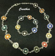 Nespresso:Set di collana e braccialetto.Chain Maille con filo argentato 0,80mm