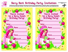Free printable strawberry shortcake birthday invitations strawberry shortcake party invitations from agkidzone filmwisefo Gallery
