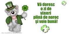 Vă doresc o zi de vineri plină de noroc și voie bună! Marti, Noroc, Gifts, Character, Presents, Gifs, Lettering, Gift