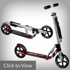 Hudora RX-205 LUX Big Wheel Fold Kick Scooter  You can't ignore the specs and quality of the RX-205 for your commuting needs.  It provides a comfortable and fast riding experience when a speedy commute or trip around town or school is essential.  The oversized 205mm anti-abrasive, shock-absorbing, high rebounding PU wheels and a lightweight, solid, low-to-the-ground aluminum frame are just some features making it competitive in the market.