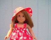 Red Kitty Short Set with matching Sun Hat for Dolls 17 to 18 inches.