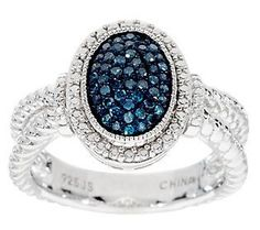 Pave Color Oval Diamond Ring, Sterling, 1/4 cttw, by Affinity