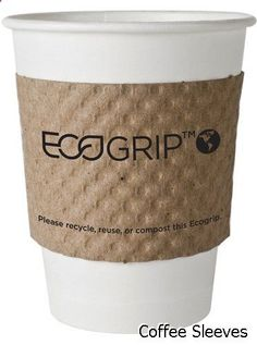 Coffee Sleeves - EcoGrip Hot Cup Sleeves - Renewable & Compostable Coffee Cup Jacket (Case of 1300) EG-2000