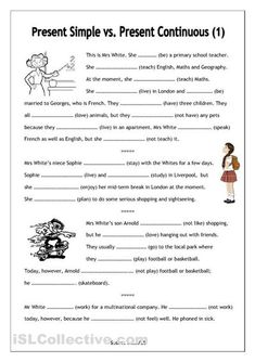No-frills worksheet for all ages: Present Simple vs. Present Continuous - English ESL Worksheets for distance learning and physical classrooms English Fun, English Lessons, Learn English, French Lessons, Spanish Lessons, Learn French, Present Continuous Worksheet, Present Continuous Tense, Tenses Exercises
